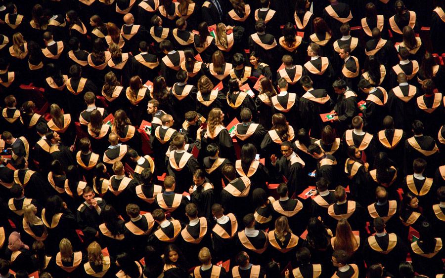 bird's-eye view of graduating students