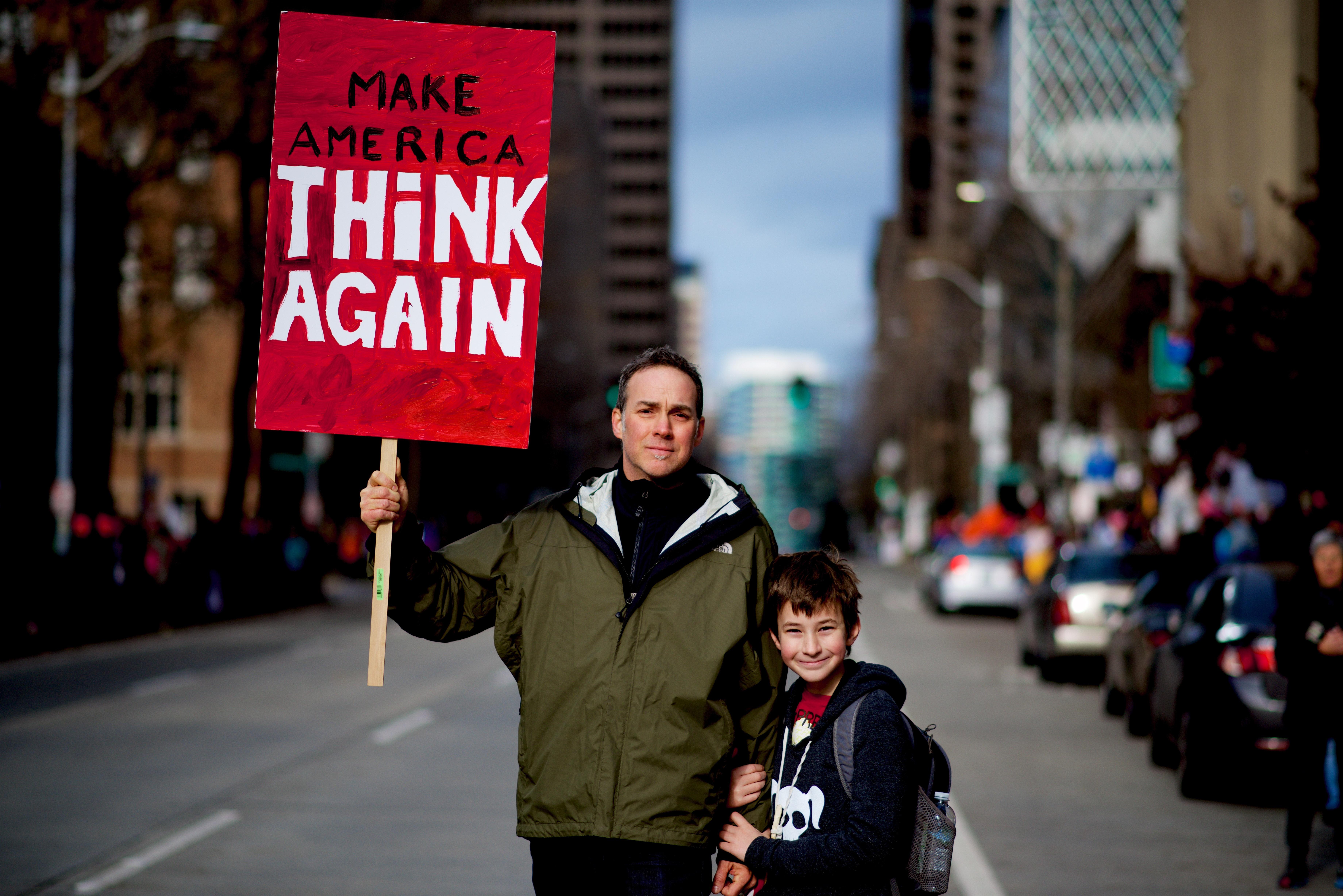 Make America Think Again Sign